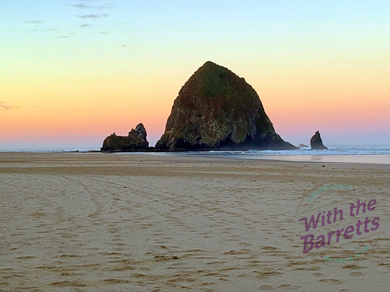 Haystack Rock at sunrise