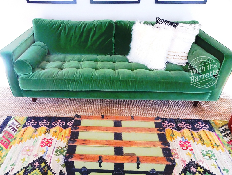 Green Sofa, chest & rug