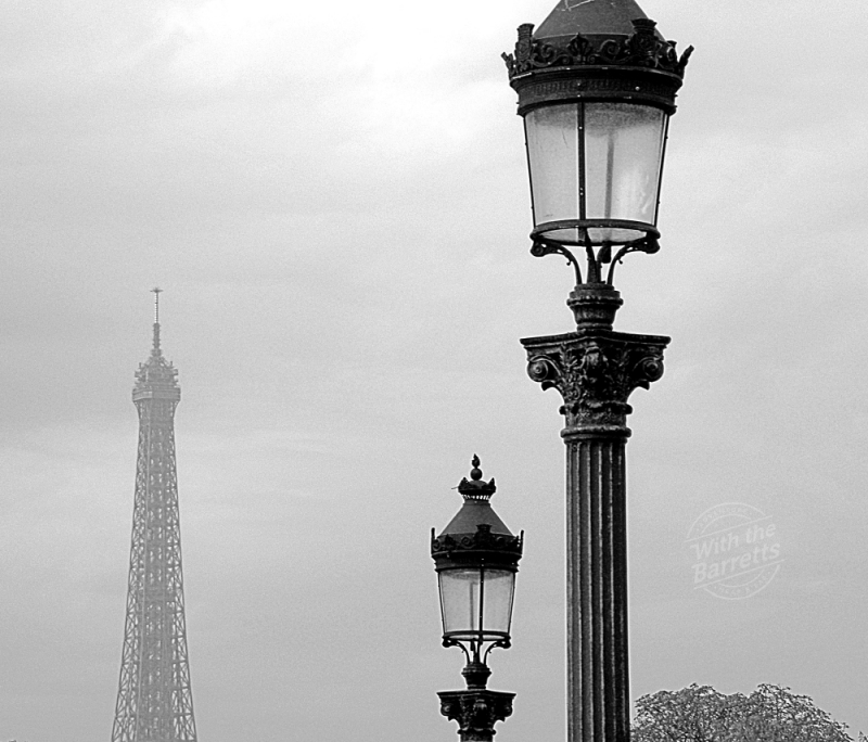 Lamp posts with the Eiffel Tower