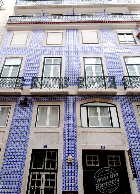 Building clad in blue tile
