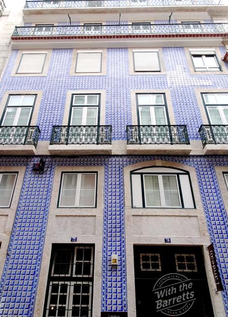 Building clad in blue tile