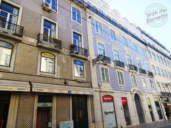 Tile clad buildings on ordinary street