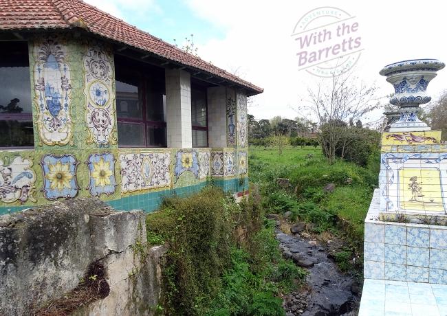 Tiled exterior walls of an outbuilding at Queluz