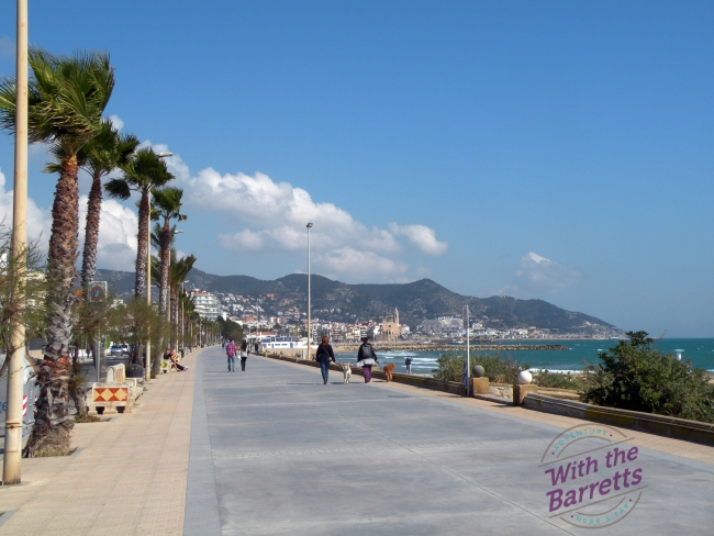 View toward the Sitges center from the promenade